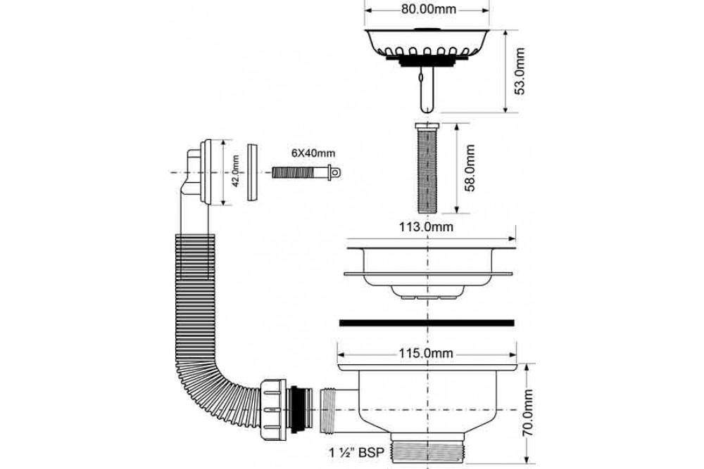 Перелив для мойки плоский 11/2-113 мм. МАЛЬПИНИ OR2-113S