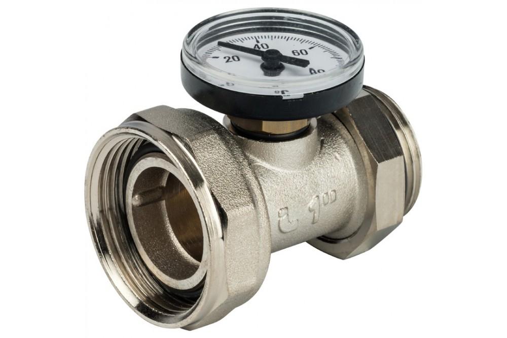 Комплект прямых шаровых кранов СТОУТ с термометром 1