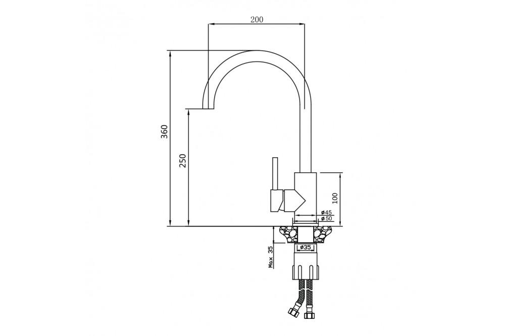 Смеситель для кухни нержавеющая сталь 13435BL Balear