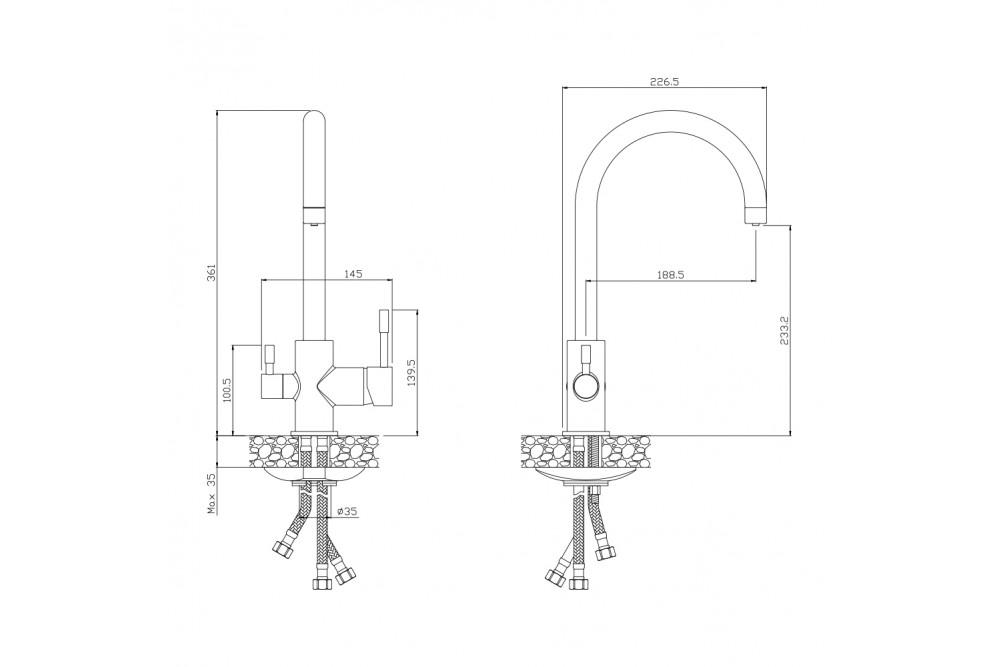 Смеситель для кухни под фильтр 13440BL Balear