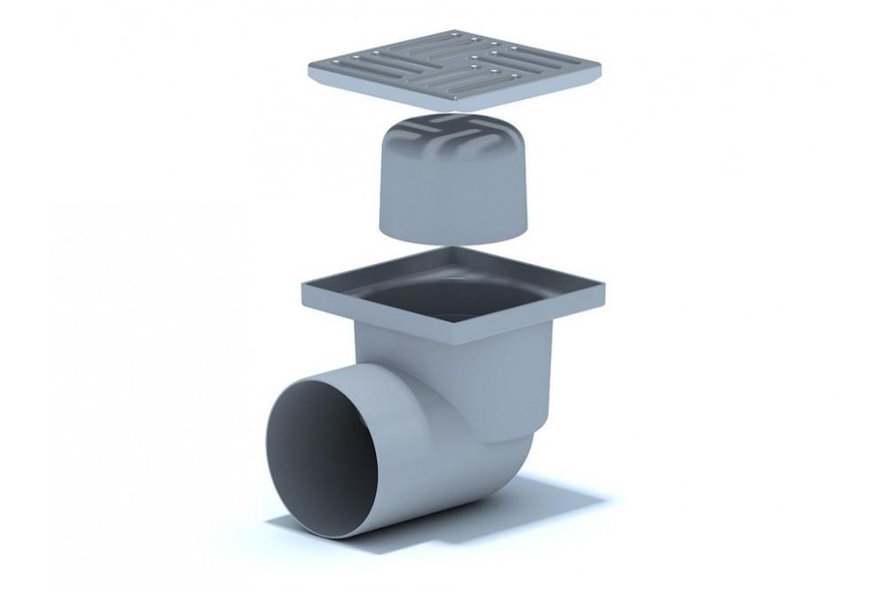 Трап пластиковый угловой 110x15x15 с нержавеющей решёткой  2