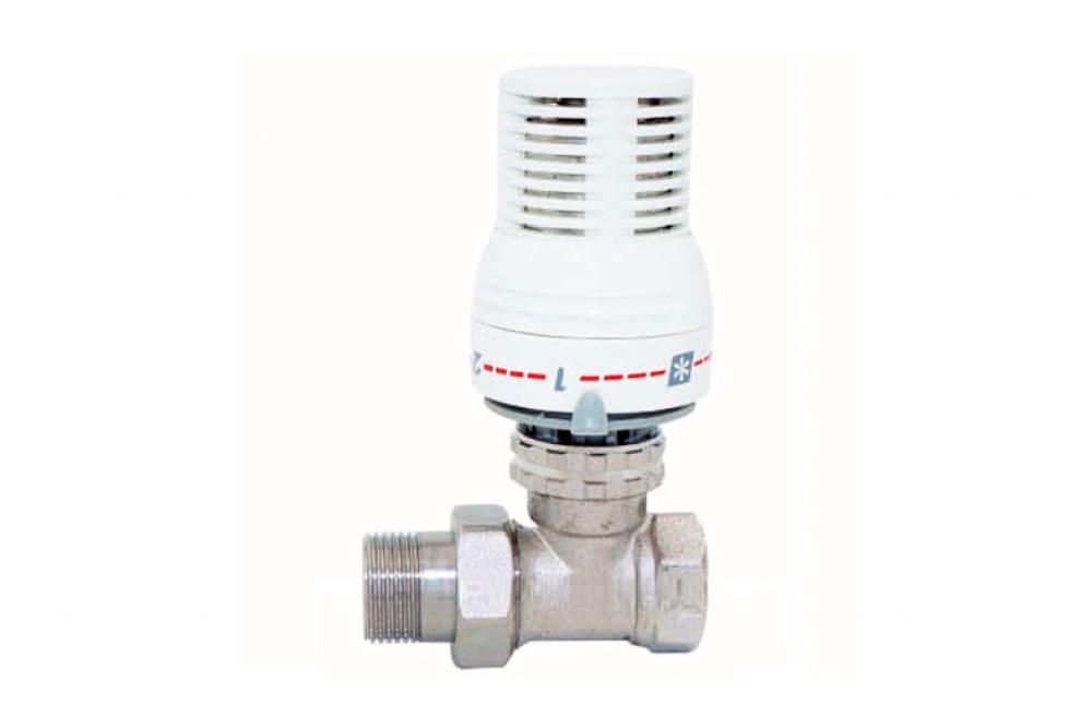 Кран для радиатора отопления прямой 3/4г, ш, термоголовка 26
