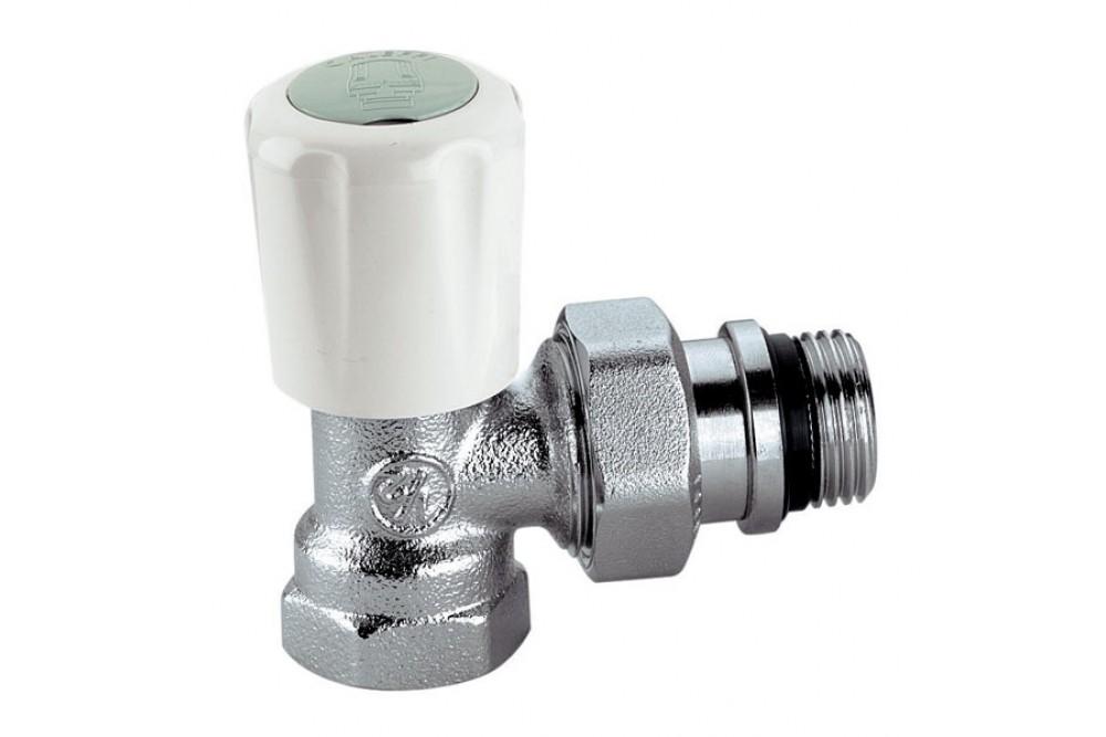 Кран для радиатора отопления угловой 1/2г, ш, верхний Елсен термоголовка 3