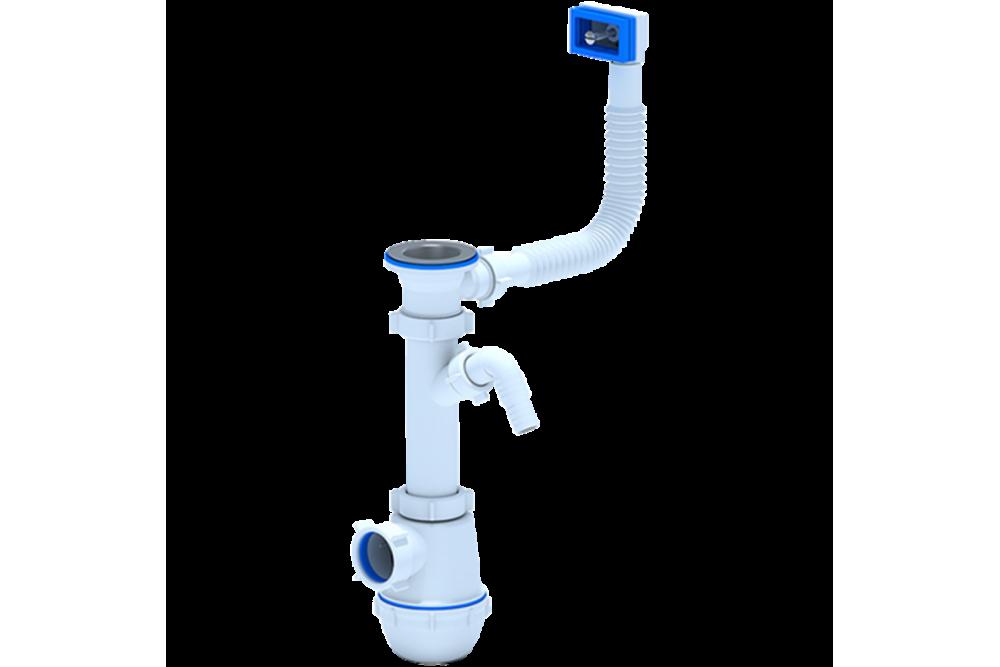 Сифон с переливом и отводом стиральной машины АНИ 1 1/2x40 A1040