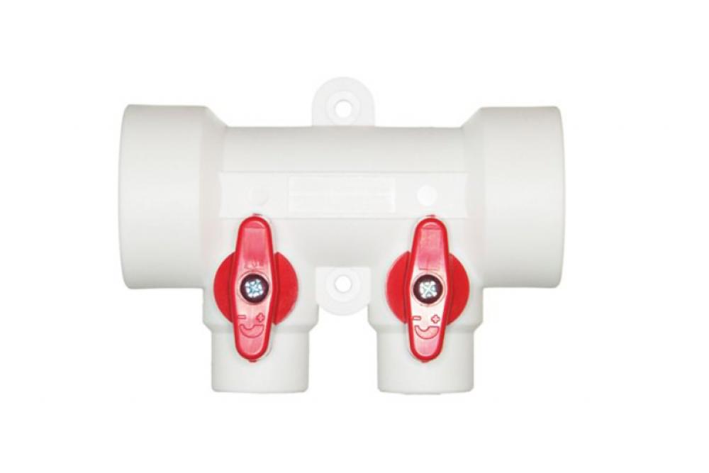 ПП Коллектор 40*20*2 выход горячей вода (гребенка красная)