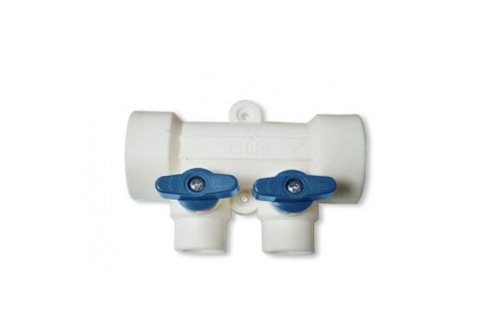 ПП Коллектор 40*20*2 выход холодной воды (гребенка синяя) 0
