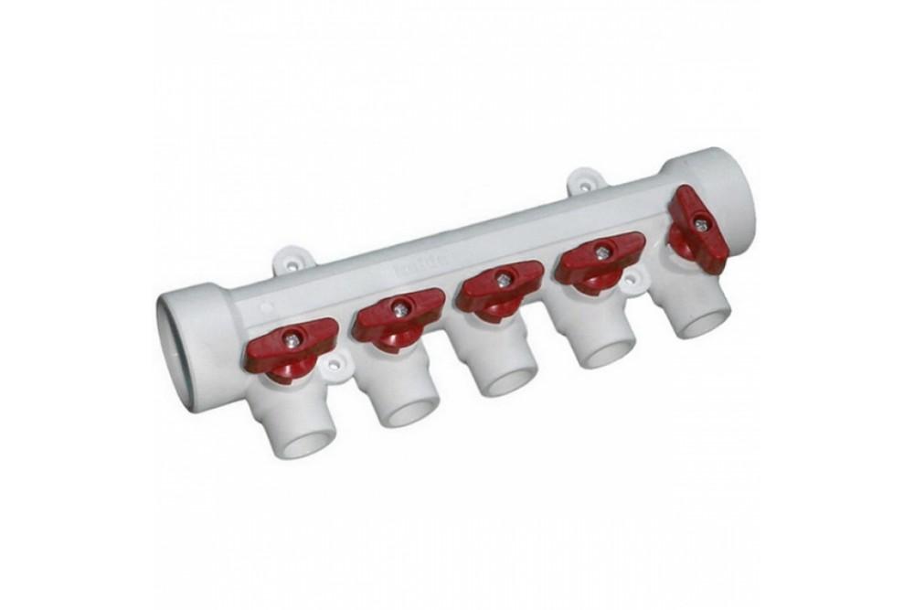 ПП Коллектор 40*20*5 выход холодной воды (гребенка красная)