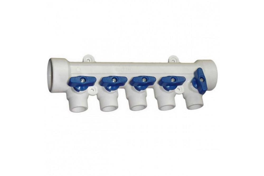 ПП Коллектор 40*20*5 выход холодной воды (гребенка синяя)